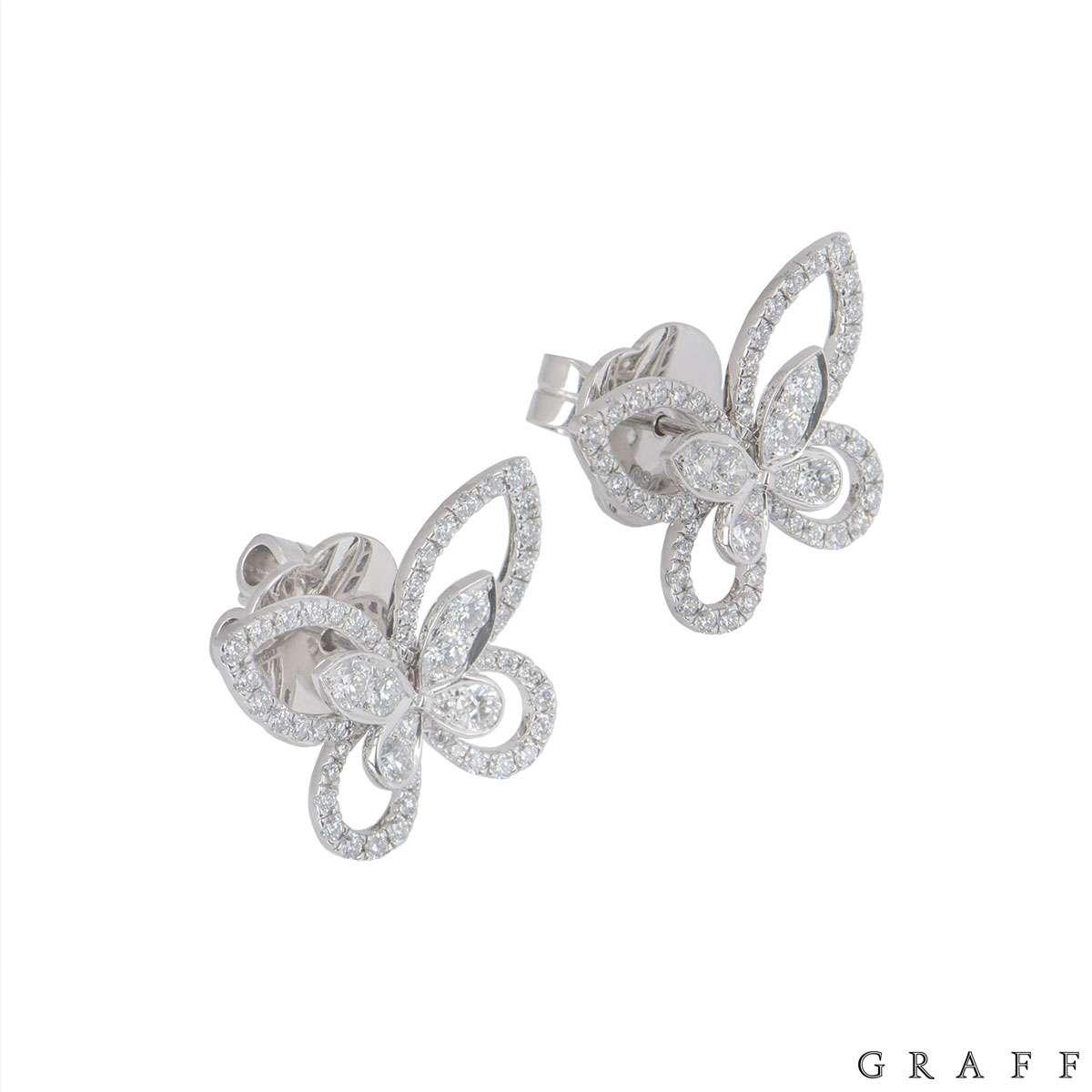 Graff White Gold Diamond Butterfly Earrings